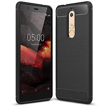Carbon Fiber Shell for Nokia 5.1 Protection Shockproof Phone Rubber Armor Mobile Shell Matte