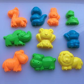 10 Pcs/set Animals Sand Clay Tool Beach Toys- Novelty Pyramid Mold Building