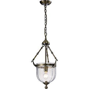 Inspirado Diyas - Aubrey - Linterna colgante de techo 1 latón antiguo claro, vidrio
