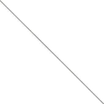 14Κ Λευκόχρυσο στερεό γυαλισμένο δαχτυλίδι άνοιξη. 90mm κολιέ αλυσίδα Box-μήκος: 14 έως 30