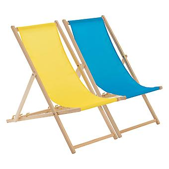 Traditional Adjustable Beach Garden Deck Chairs - Yellow / Light Blue