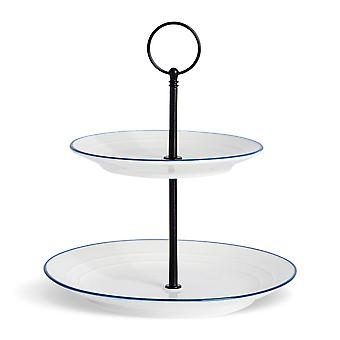 Nicola Spring Country Farmhouse 2-Tier Afternoon Tea Cake Stand - White with Blue Rims - 21cm x 24cm