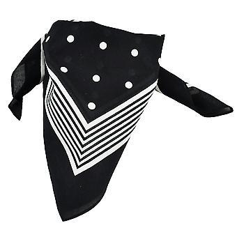 Banden Planet Black met witte strepen en polka dot bandana halsdoek