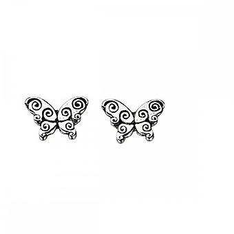 Beginnings Sterling Silver A894 Oxidised Butterfly Stud Earrings