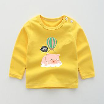 Cartoon Print Baby's T-shirt For Autumn Long Sleeve Clothes Cotton Leisure Tops