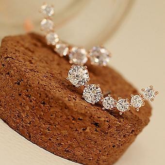 Rose Gold Crystal Climber Earrings