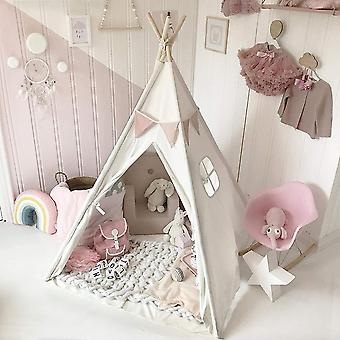 Tipi-triangle Kids Tent, Teepee Canvas Sleeping-dome, 130cm Play-tent