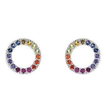 Dew Sterling Silver Open Circle Multi Cubic Zirconia Stud Earrings 3882MCZ