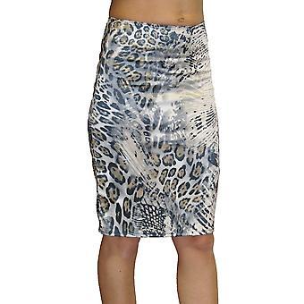 Mujeres's Leopard Impresión Lápiz Falda Señoras Animal Impresión Elástico Slim Fit Bodycon Falda 6-18