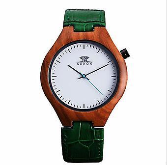 KENON KWWT-71 Moda Caixa de Madeira Homens Quartzo Relógio de Couro Relógio de Pulso De Couro