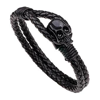 Punk Gold Skull Leather Wrap Chain Fashion Bangle Bracelets for Men