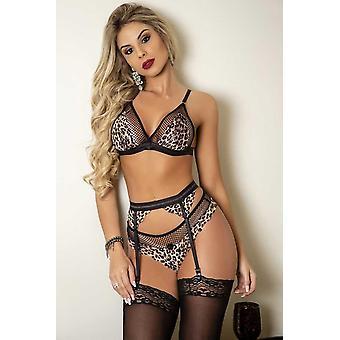 Set di lingerie bralette patchwork in rete leopardata con giarrettiera