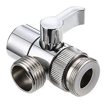 Faucet Valve Diverter Sink Valve Water Tap Faucet Splitter Adapter (silver)