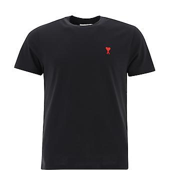 Ami Bfhj108723001 Men's Black Cotton T-shirt