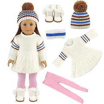 Miunana winterkleding voor 16 - 18 inch Amerikaanse meisjespoppen en andere 16 - 18 inch poppen : witte swe