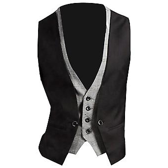 Men Formal Waistcoat, Vest Solid Color, Single Button Gilet Fake, Two-pieces V