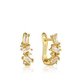 Ania Haie Sterling Silver Shiny Gold Plated Cluster Huggie Earrings E018-03G