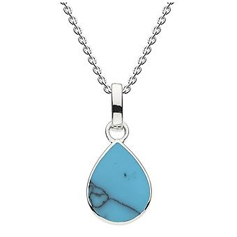 Dew Sterling Silver Pear Shape Synthetic Turquoise Pendant 9061TQ024