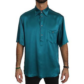 أزرق قصير كم 100٪ الحرير أعلى قميص