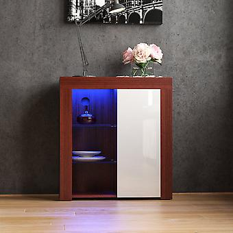 Azura 1 Door LED Sideboard High Gloss Cabinet, Walnut & White