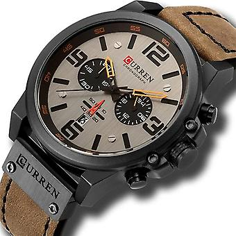 Montres homme imperméables à l'eau, Montre-bracelet Sport, Chronograph Quartz Cuir militaire