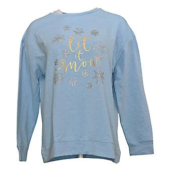 Ellen Tracy Women's Top Let It Snow Holiday Long Sleeve Scoop Neck Blue