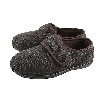 Dunlop Mens Strap Fastening Textured Slippers and Memory In-Sock  - Brown