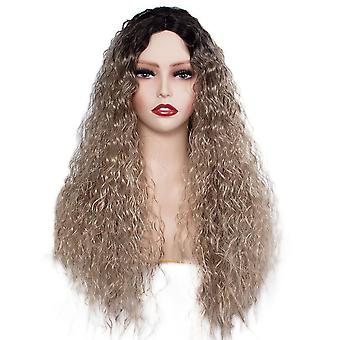 Long curly hair wig European and American ladies gradient color chemical fiber corn perm wig