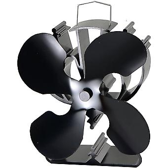 4-Blade Heat Powered Stove Fan for Wood / Log Burner/Fireplace increases 80% more warm air than 2