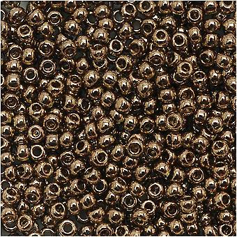 Toho Round Seed Beads 11/0 204 'Gold Lustered Montana Blue' 8 Gram Tube