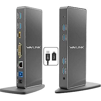 FengChun USB 3.0/USB C Dual Display Dockingstation für Windows und Mac, Universal Dock mit 6
