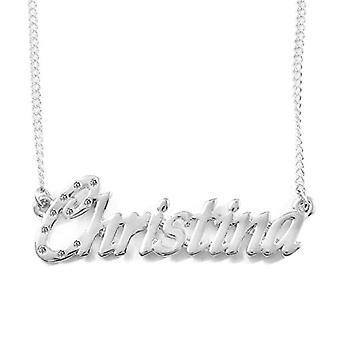 KL كريستينا قلادة اسم قابل للتخصيص مطلي بالذهب الأبيض 18 قيراط سلسلة قابل للتعديل 16 19 سم هدية مربع المرجع. 4963303138633