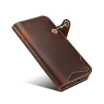 Genuine leather wallet case card slot for iphone 7/8 brown on721