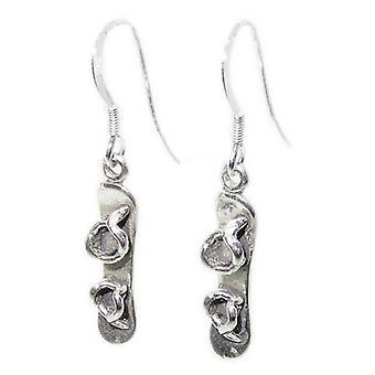 Snowboard Sterling Silver Earrings X 1 Pair Snowboarding Snow Board Dangles - 15369