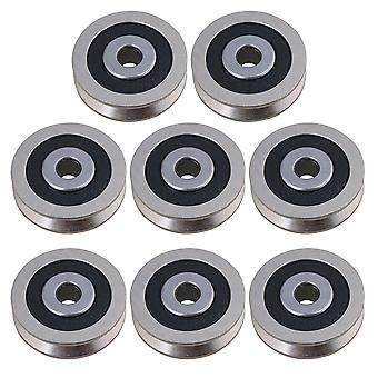 8PCS Noir V en forme de roulements de guidage acier scellé roulements à billes Poulie