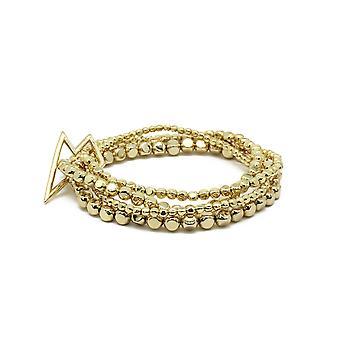 Boho betty whistle 4 layered gold bracelet stack with lightning bolt fastener