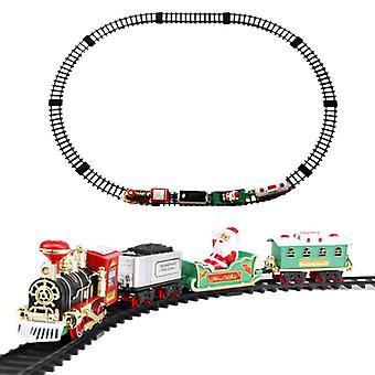 مجموعة قطار الية مع الأضواء والأصوات، عيد الميلاد جولة شكل السكك الحديدية المسارات