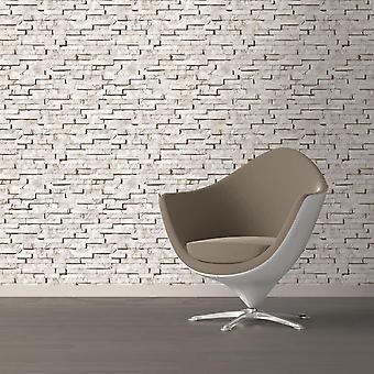 Muriva stone wall effect blown vinyl wallpaper cream