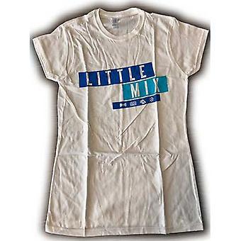 Little Mix - Dark Multi Blue Logo Ladies Small T-Shirt - White