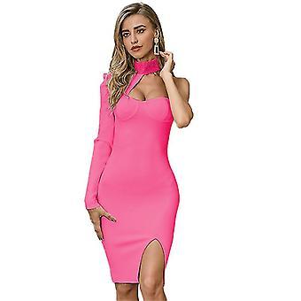 S kırmızı yaz seksi kayış tek uzun kollu gece elbiseleri kadınlar için parti vintage elbise fa1316