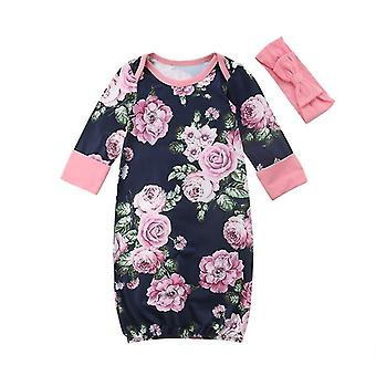 Floral Printed Round Neck-swaddle Wrap With Headbands For Babies
