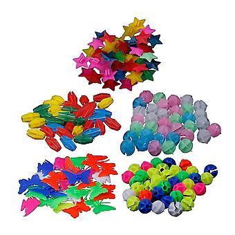 170 Stk bunte Runde Rad Speiche Perlen Bike Kunststoff Clip Speichen Perlen Dekorationen (36 Pentagramm Perlen + 36 und Fisch Perlen + 36 leuchtende Perlen + 36 Lit