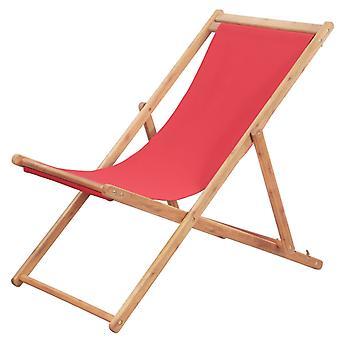 vidaXL Taitettava rantatuolikangas ja puinen runko punainen