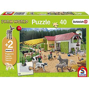 Schleich: A Day at the Farm 40 Piece Jigsaw Puzzle With Two Figures