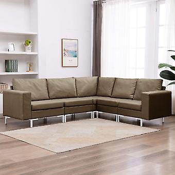 vidaXL 5-tlg. Canapé-lit en tissu Brun
