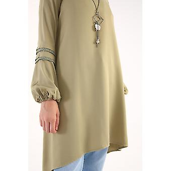 Sleeve Lace Detailed Tunic With Necklace