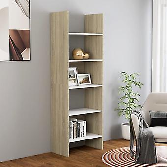 vidaXL bibliothèque blanc et sonoma-chêne 60x35x180 cm panneau de particules
