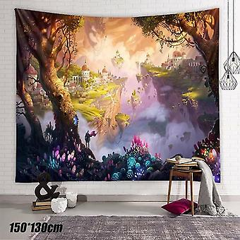 (150*130cm) 3D Dream Castle Art Tapestry Kids Room Throw Bedspread Wall Hanging Home Decor