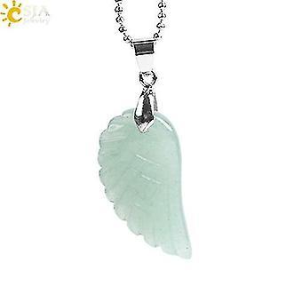 Natural Gem Stone Angel Wing Necklaces & Pendants(GreenAventurineChain)