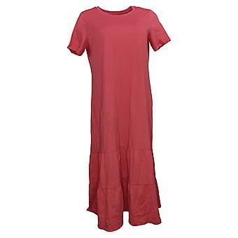 LOGO by Lori Goldstein Dress Cotton Modal Tiered Midi Dress Red A378828